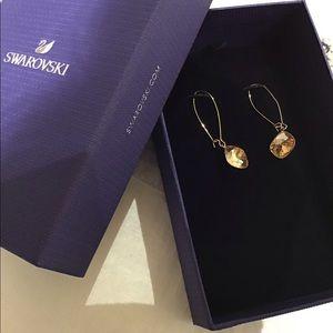Swarovski gold drop earrings
